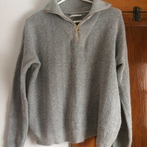 Alpaca wool Sezane -like knit  - Grey